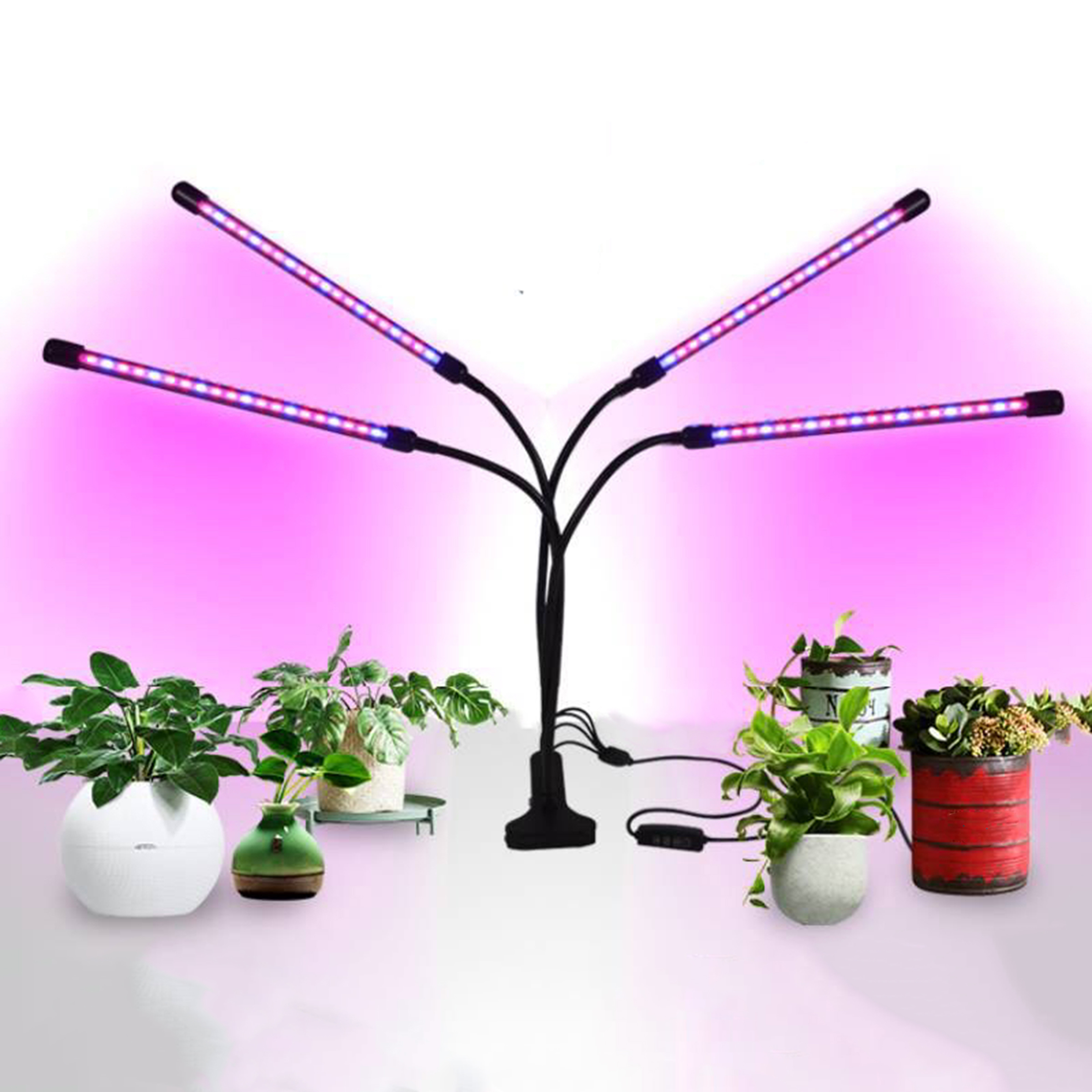 Wholesale full spectrum timer dimmable  18W 4 head Flexible Clip indoor led grow lights