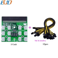 12 Ports 12V Server Power Supply Breakout Board with 12 * 6pin to 6+2pin power cable 70cm for HP 750W 1200W GPU Mining
