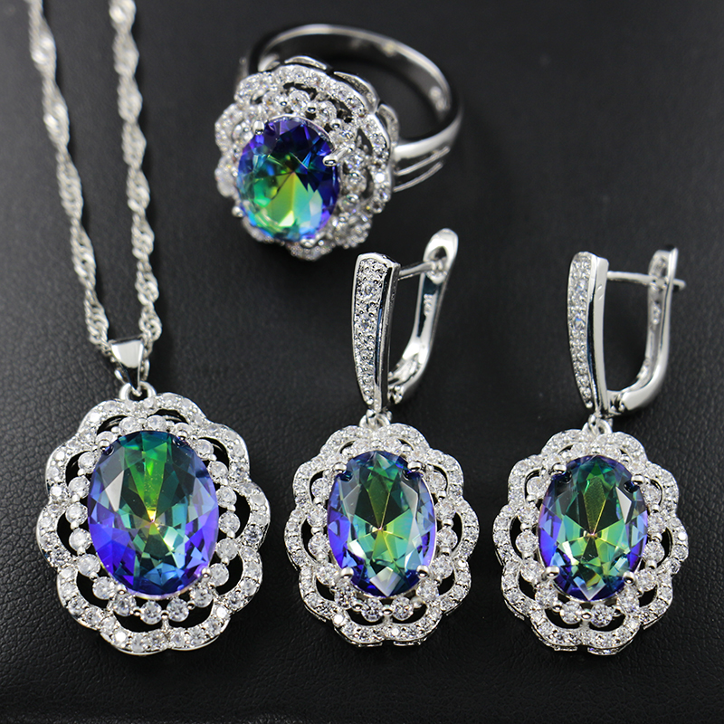 topaz Factory Direct Marquise white Gold Plated Jewelry Set big flower  Shape Sapphire Women Necklaces And Earrings Sets