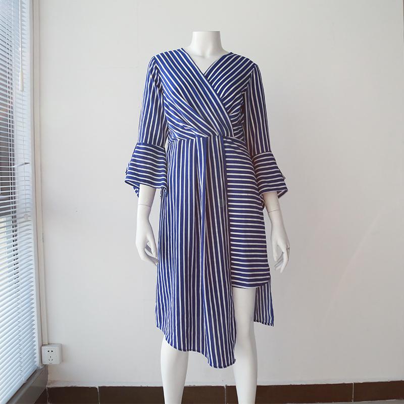 Wholesale Hot Sale Three Quarter Bell Sleeves Bule Stripe Asymmetrical Casual OL Lady Wear Midi Dresses Ladies For Australia