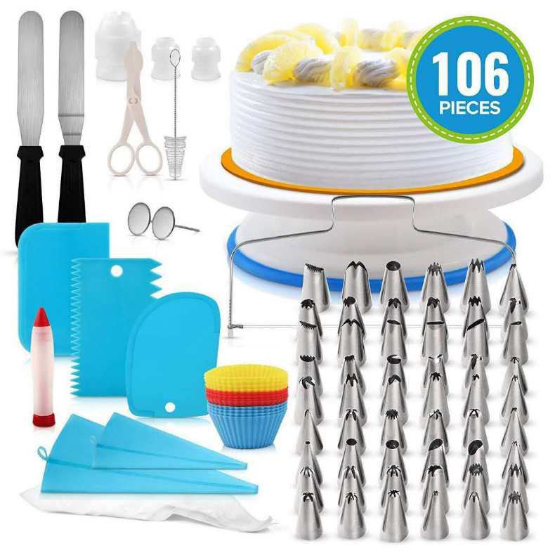 106pcs Cake Turntables Decoration Accessories Wholesale Stainless Steel Kit Baking Pastry Cake Decorating Tools Set