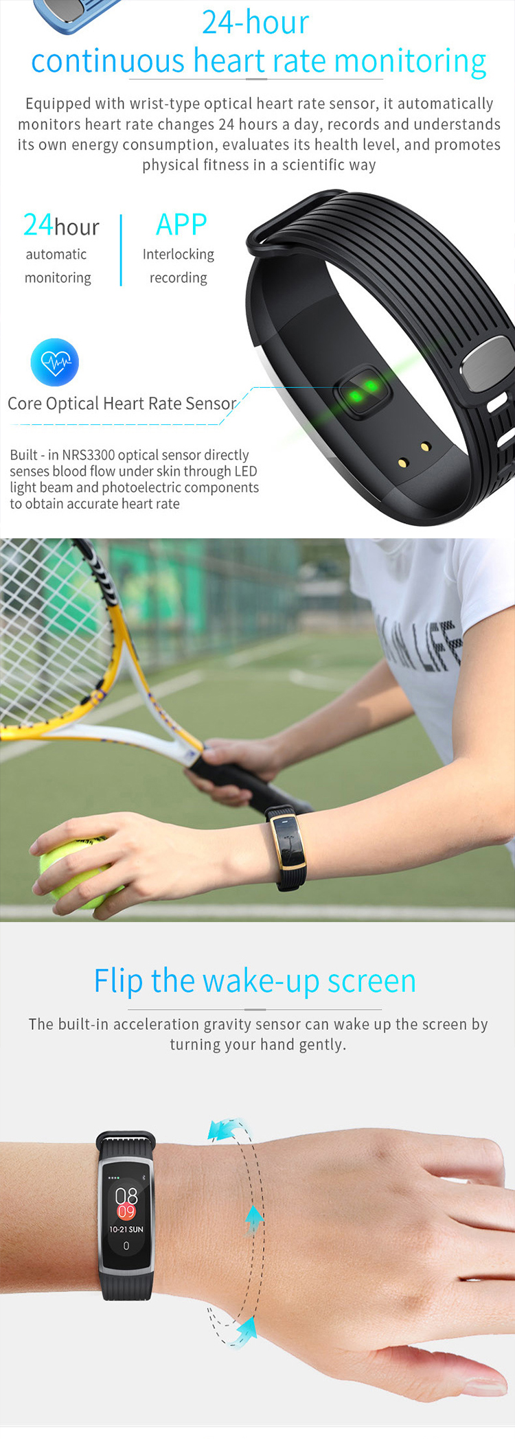 New color screen, high blood pressure heart rate,healthy and fashion movement smart wristband