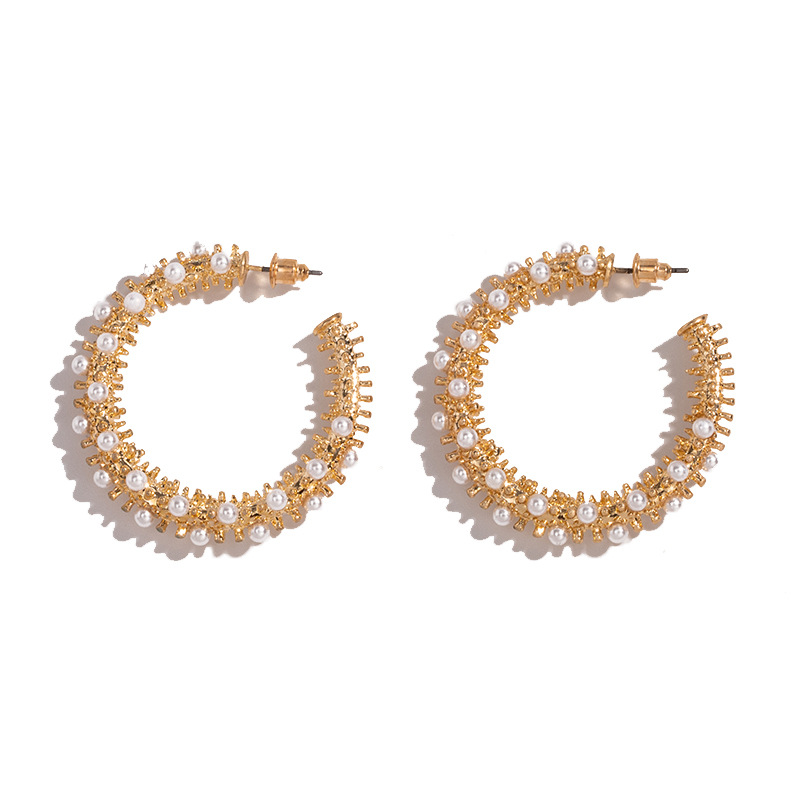 New Arrival Fashion Trendy Statement 18K <strong>Gold</strong> Hoop <strong>Earrings</strong> Golden <strong>Flower</strong> Pearl Hoop <strong>Earrings</strong> for Girls
