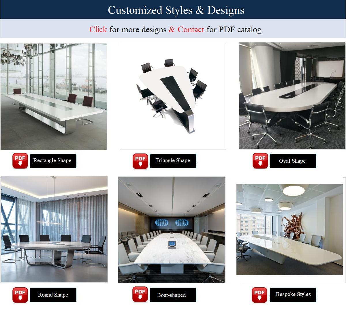 Conferentieruimte Tafel Modern Design Kantoor Smart Kleine Rechthoek Witte Corian Marmeren Quartz Stone Top Vergadertafel
