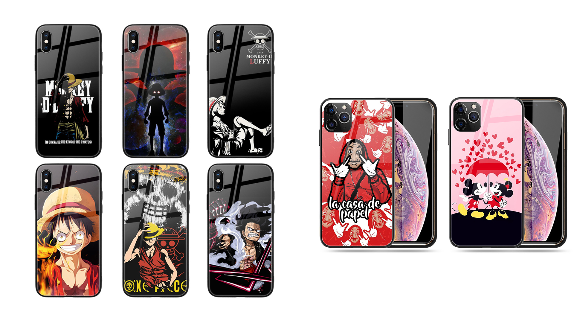 Customized Print Anime One Piece Glass Phone Case for iPhone 11 Pro XR XS MAX 12 A51 A71 S10 S20 Mobile Phone Bags & Case