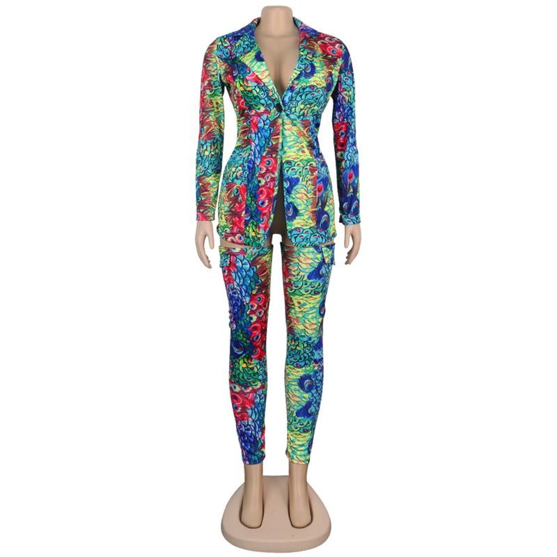 Комплект из двух предметов с принтом, топ, куртка и штаны, сексуальный клубный Женский костюм с длинным рукавом размера плюс 3XL, толстовка, ве...(Китай)