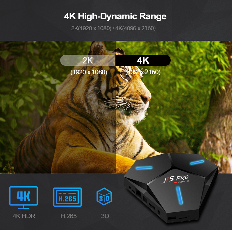 J15pro RK3328 Android 9,0 Quad Core 4G 32G Dual Wifi control remoto por voz HDR 4K Android Tv Box 2019