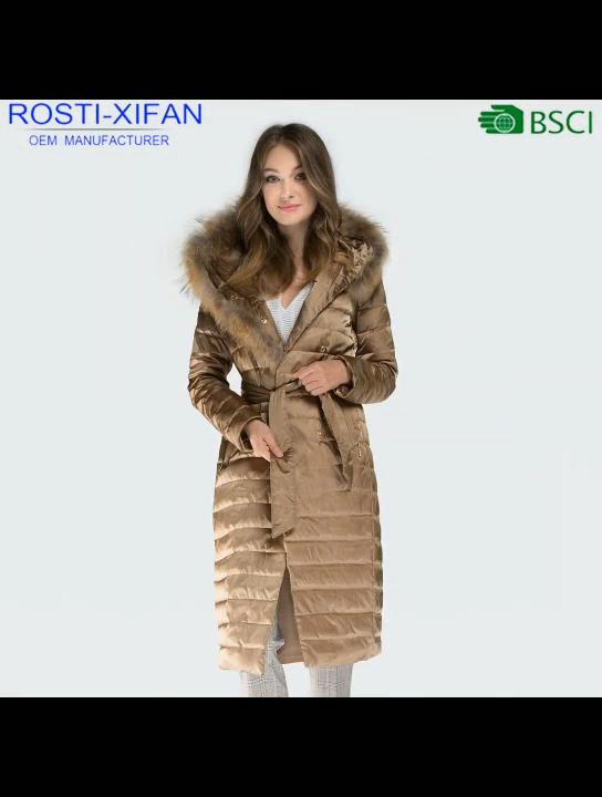 Women Winter Long Style Duck Down Coats With Natural Raccoon Fur