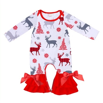 2019 Wholesale Christmas animal print clothing kids newborn clothes cotton baby rompers