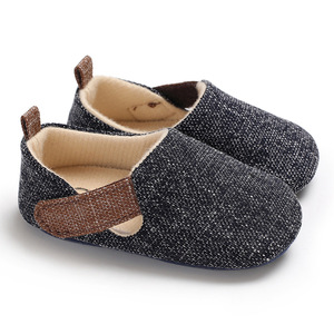 Wholesale baby boy casual canvas shoes kids soft cloth walking shoes easy slip-on stretch knit fabric shoe