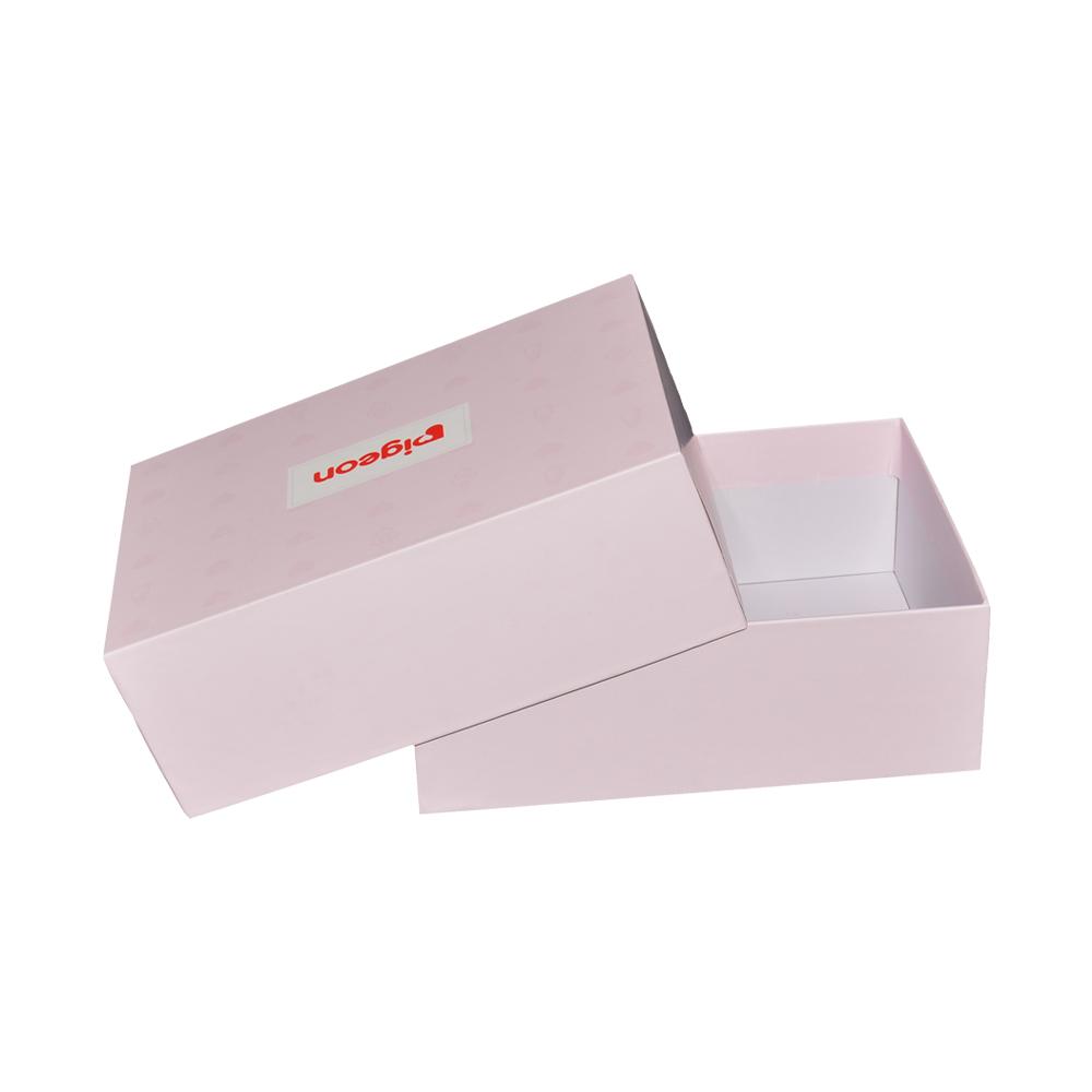 Haute Qualité Papier Rigide Rose Couvercle Et Boîte De Base avec Spot UV pour Bébé Chaussettes Emballage