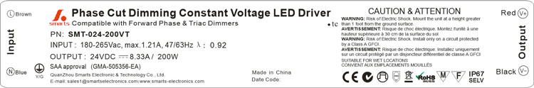 IP67 waterproof 24v 200w ac/dc triac dimmable switch led power supply