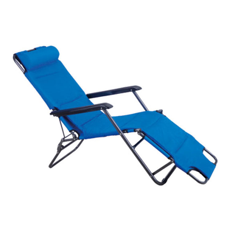 2 Positions Outdoor Multifunction Recliner Chair Folding Pool Sun Bed with Pillow