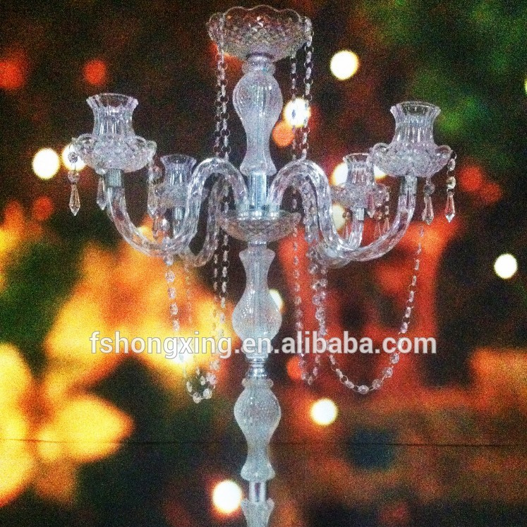 HOT!! 5 arms tall wedding table centerpiece crystal acrylic candelabra with flower bowl