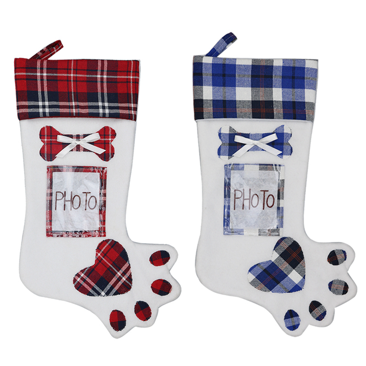 Factory Party Supplies Cotton Plaid Christmas Stocking Decoration