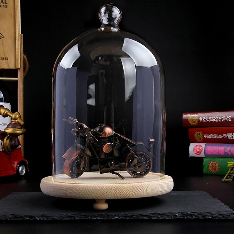 Kubah Tampilan Kaca Bell Cloche Buatan Tangan dengan Dasar dan Lampu Led