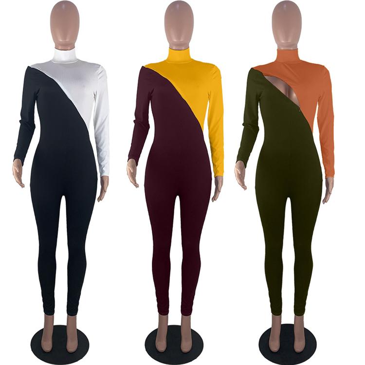 1119M476 fashionable casual zipper open front contrast color women Bodycon Casual Long Sleeve Jumpsuit women jumpsuit 2020