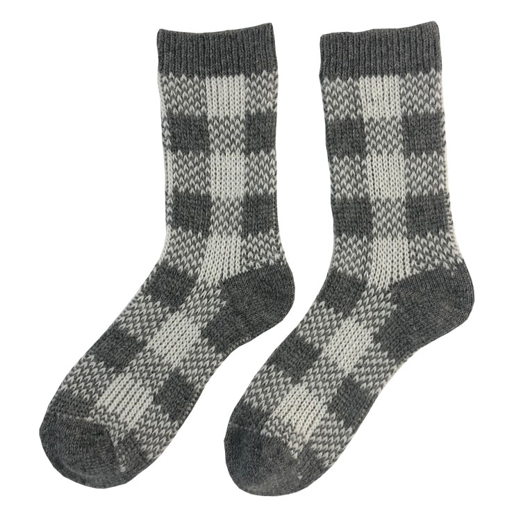 Japanese heavy needle plaid wool thick socks