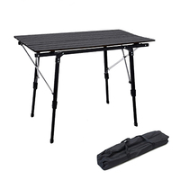 Manufactory adjustable height outdoor picnic rolling up camping table foldable bbq aluminum folding table