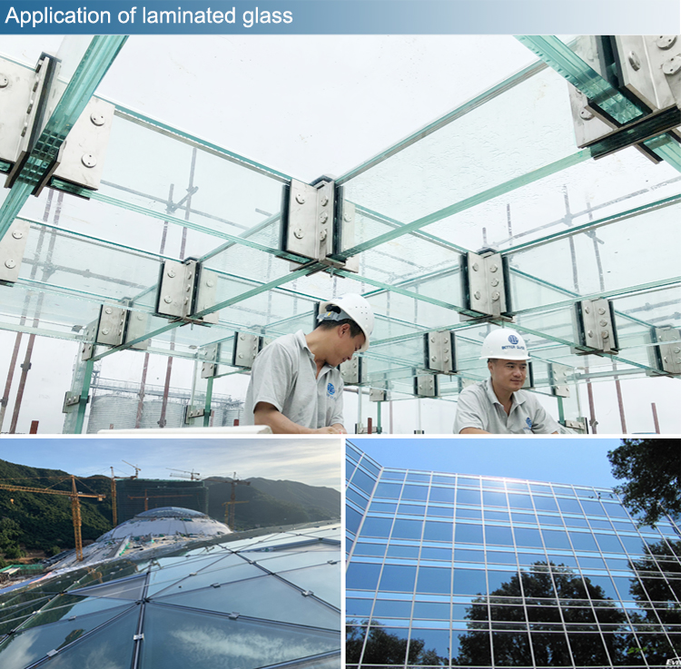 Commercial door window tempered laminated controlled sunshade glass