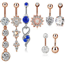 1 комплект, сексуальные пуговки для живота, кольца для пирсинга живота, CZ с кристаллами, с цветами из страз, ювелирные изделия для тела, пирси...(Китай)