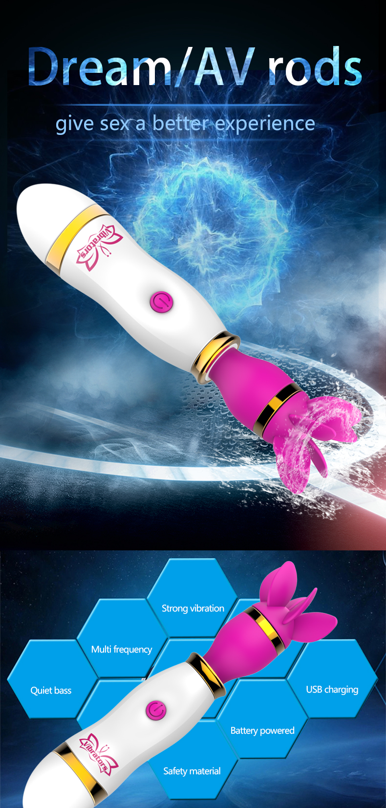 360 Degree Rotation Vibrator 12 Speed Tongue Licking AV Stick Nipple Clitoris Stimulator Sex Toys for Women Masturbator