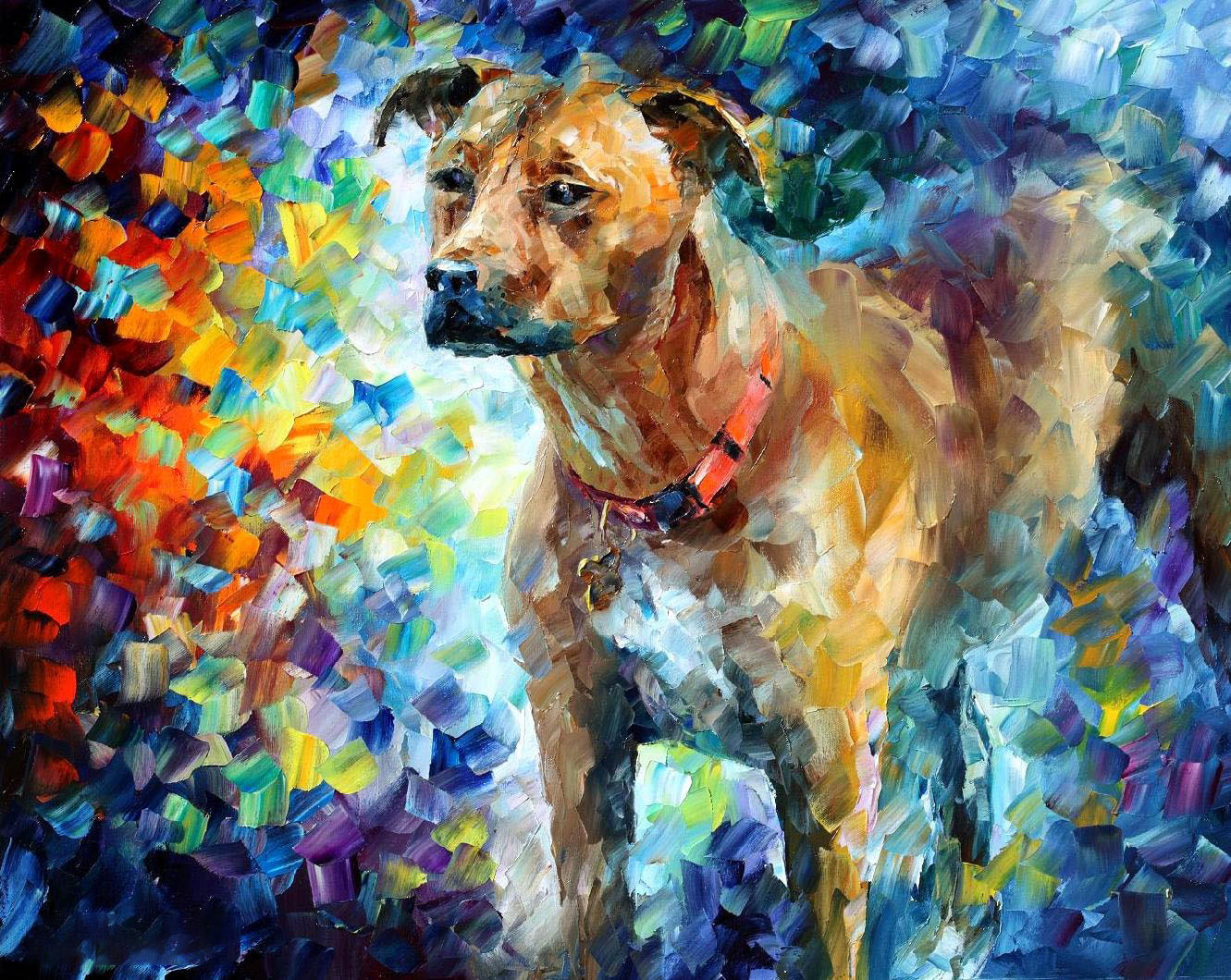 Wall decoration Modern Abstract Canvas Art Colorful Dog Animal Oil Painting