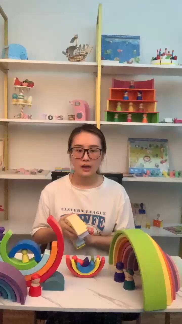 Giocattoli del bambino Arcobaleno Blocchi di Costruzione di Giocattoli In Legno Per Bambini In Età Prescolare Insegnamento Montessori Sussidi Didattici Blocchi di decorazione della casa