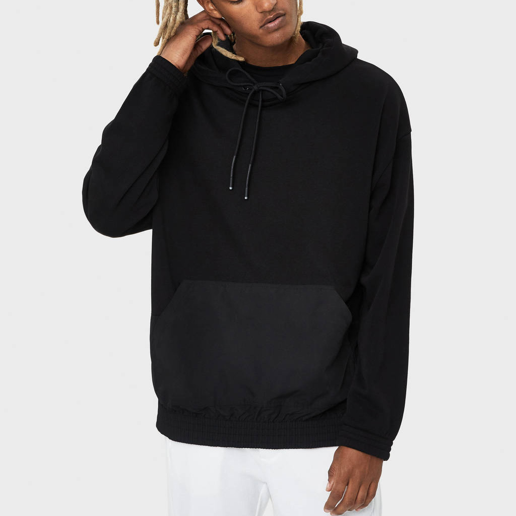 High Quality <strong>Mens</strong> Kangaroo Pocket Streetwear Pullover Custom Logo <strong>Black</strong> <strong>Hoodie</strong>