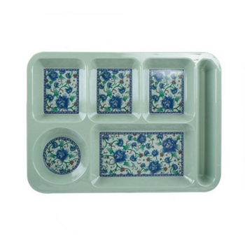 Low MOQ Customize Design Rectangle Divideded Plastic Melamine Plate Sale Food Plate