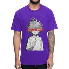 Мужская футболка с круглым вырезом, 100% хлопок, аниме «обетованный нетлэнд», Emma We Will Alien футболка(Китай)