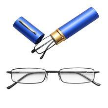 Мини-очки для чтения в металлической оправе унисекс + Чехол для очков для мужчин и женщин, очки для дальнозоркости + 1,0 + 1,5 + 2,0 + 2,5 + 3,0 + 3,5 + 4,0 +(Китай)