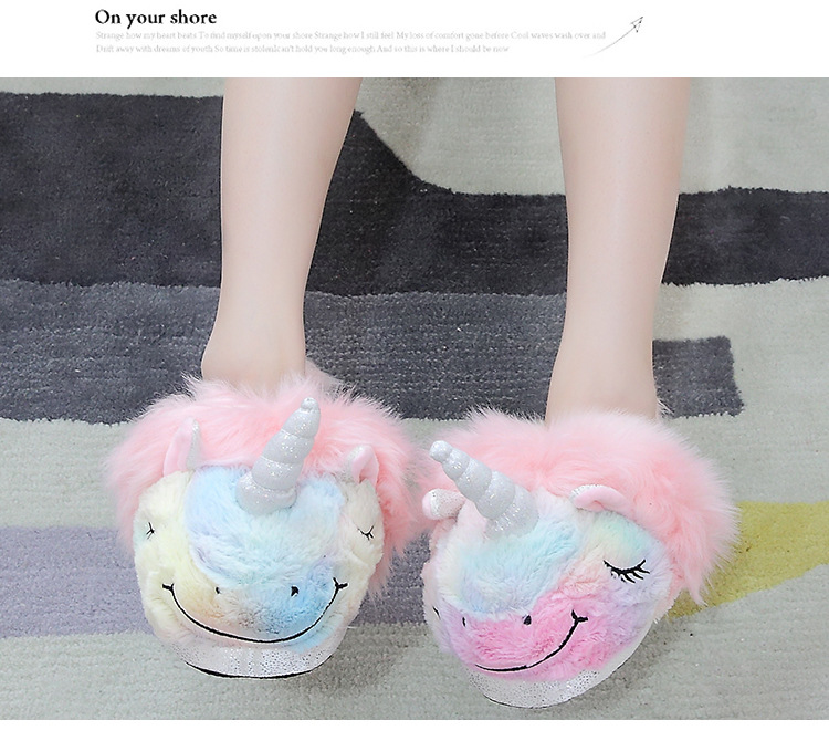 High Quality Wholesale Custom Cheap Valentine Plush Slippers Animal Unicorn New Slippers Fast delivery