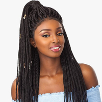 Fulani cornrow braid swiss lace front wigs high temperature resistant Japanese fiber with 4 colors available