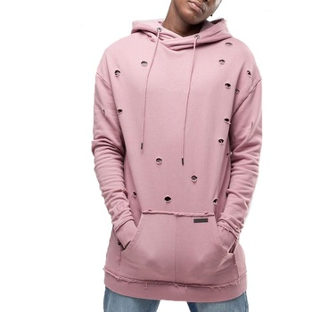 Drawstring Pink Distressed Hoodie for Men