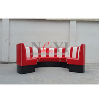 NEYI AD521 custom red and white American diner 3/4 circle booth sofa for retro diner set