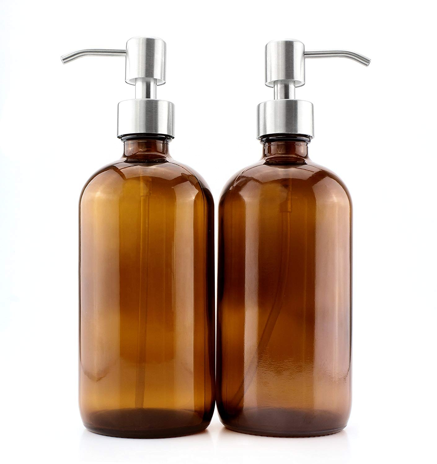 16oz 500ml Amber Glass Bottle Empty Shampoo Bottles for Sale with Stainless Steel Pump Lid