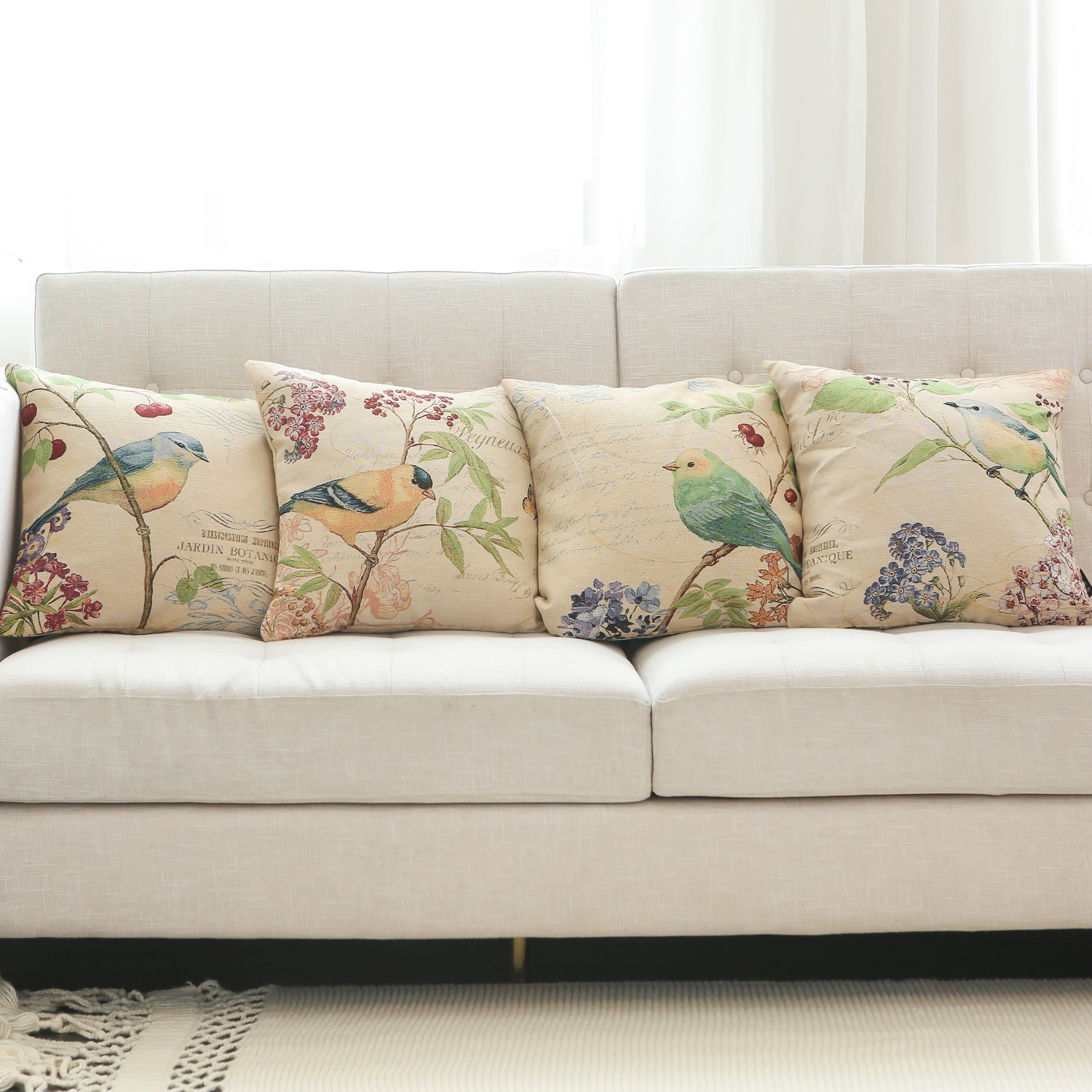 Amazon Hot Selling Bird and Flower Series Jacquard Throw Pillow Covers Cushion Covers for Sofa Couch Bed Decor