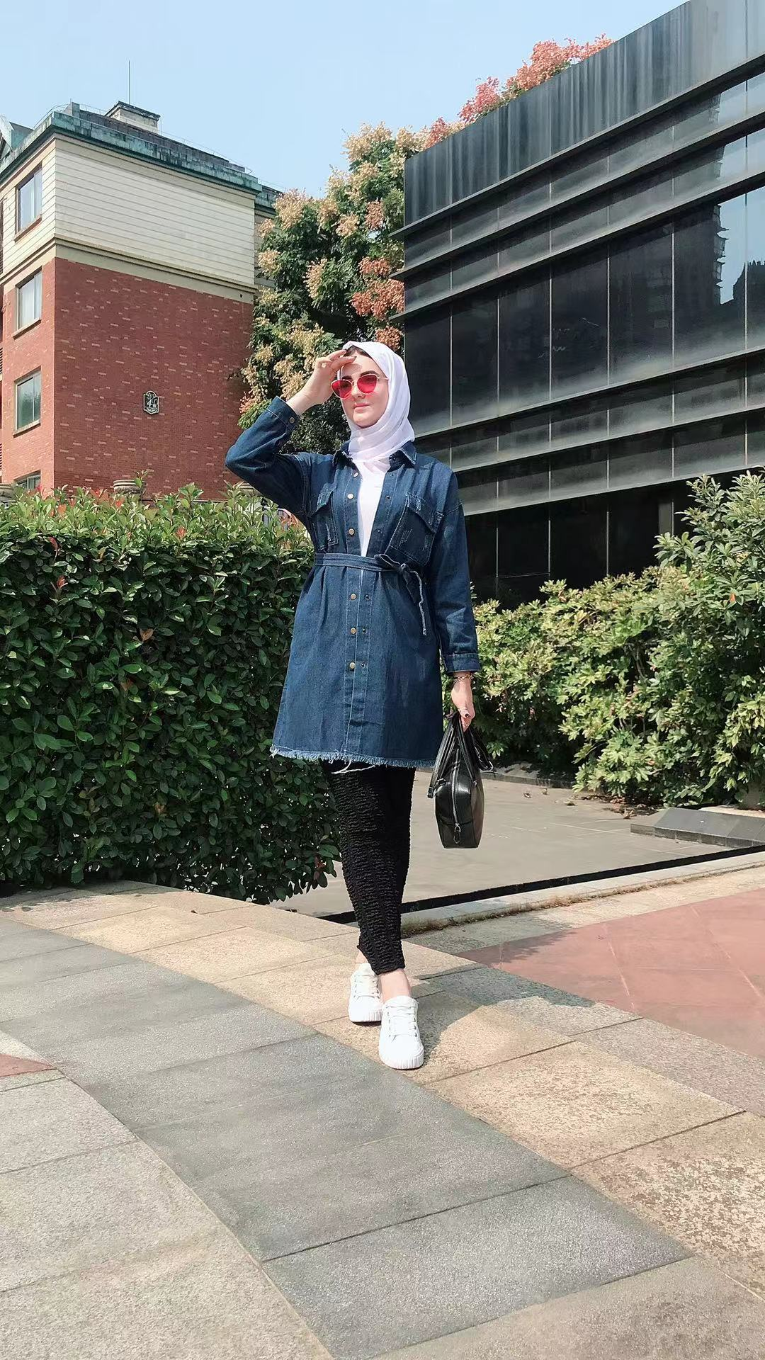 Women denim jackets long sleeve oversize casual outerwear button jeans coat belt muslim long coat