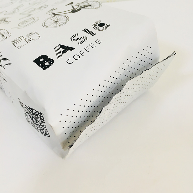 250g matte white foil side gusset coffee bean packaging with tin tie
