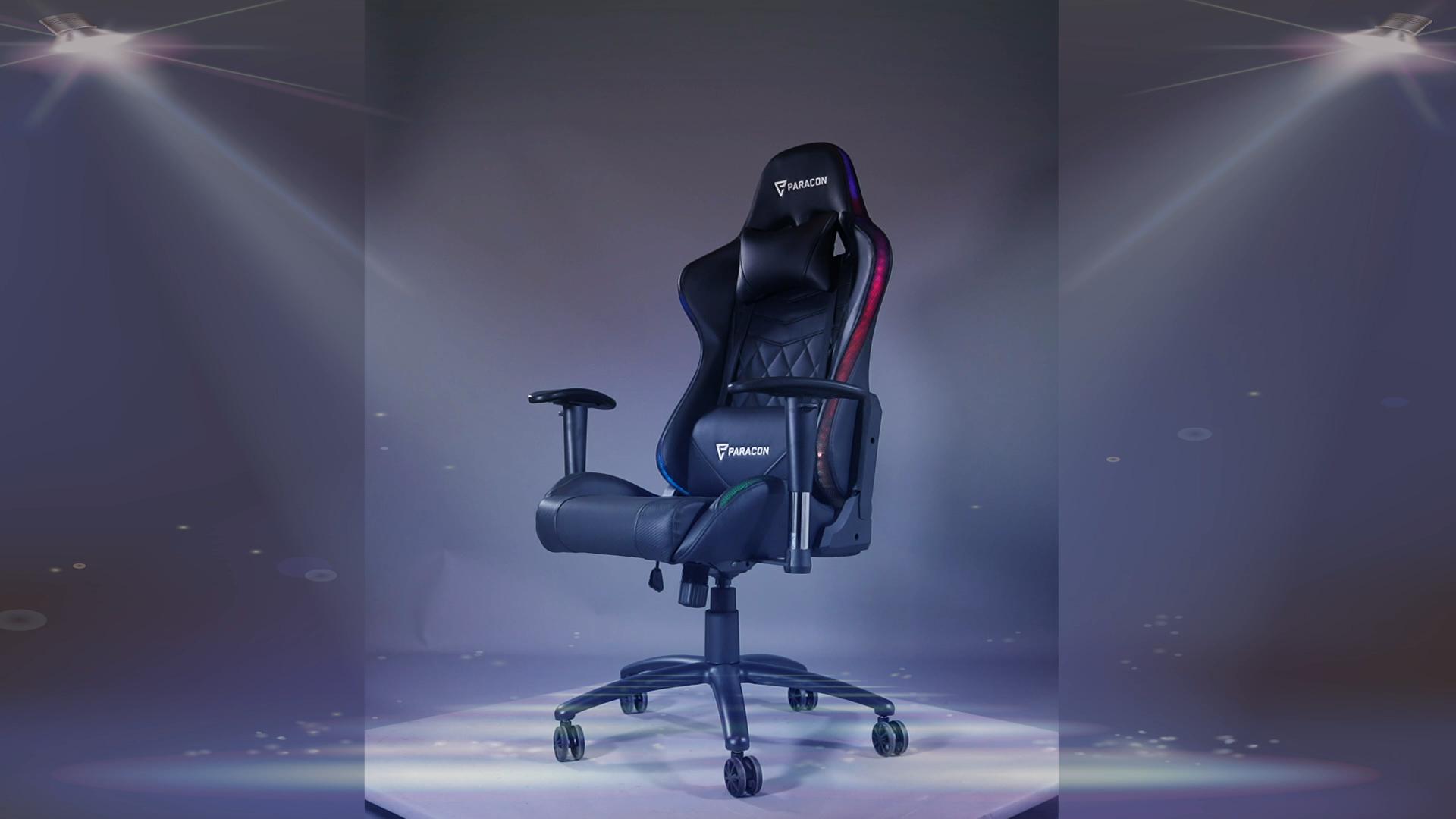 게임 의자 8608 레이싱 의자 pu 패브릭 의자 RGB LED