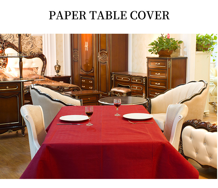 Disposable paper covered small round dining tablecloth