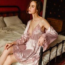 Новый ледяной шелковый халат, костюм, Сексуальная Домашняя одежда, халат и платье, наборы, женская одежда для сна, тонкая ночная рубашка, кос...(Китай)