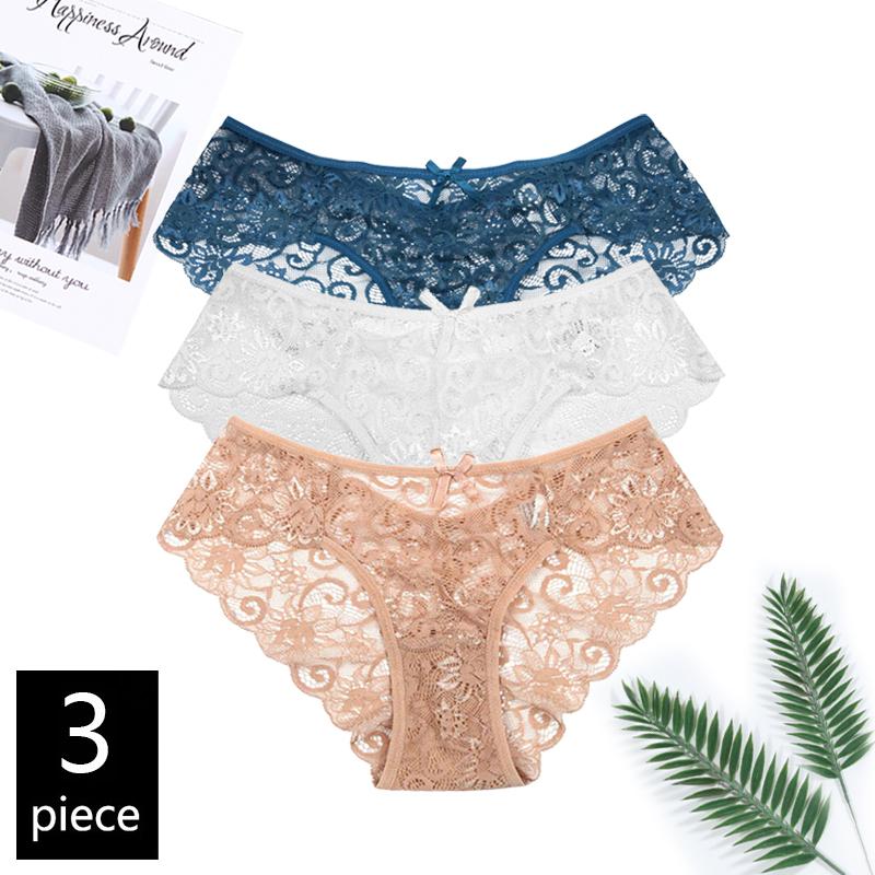 Женские прозрачные кружевные трусики с бантом, сексуальный дизайн, по 3 штуки в комплекте, со средней талией, размеры от S до XL(Китай)