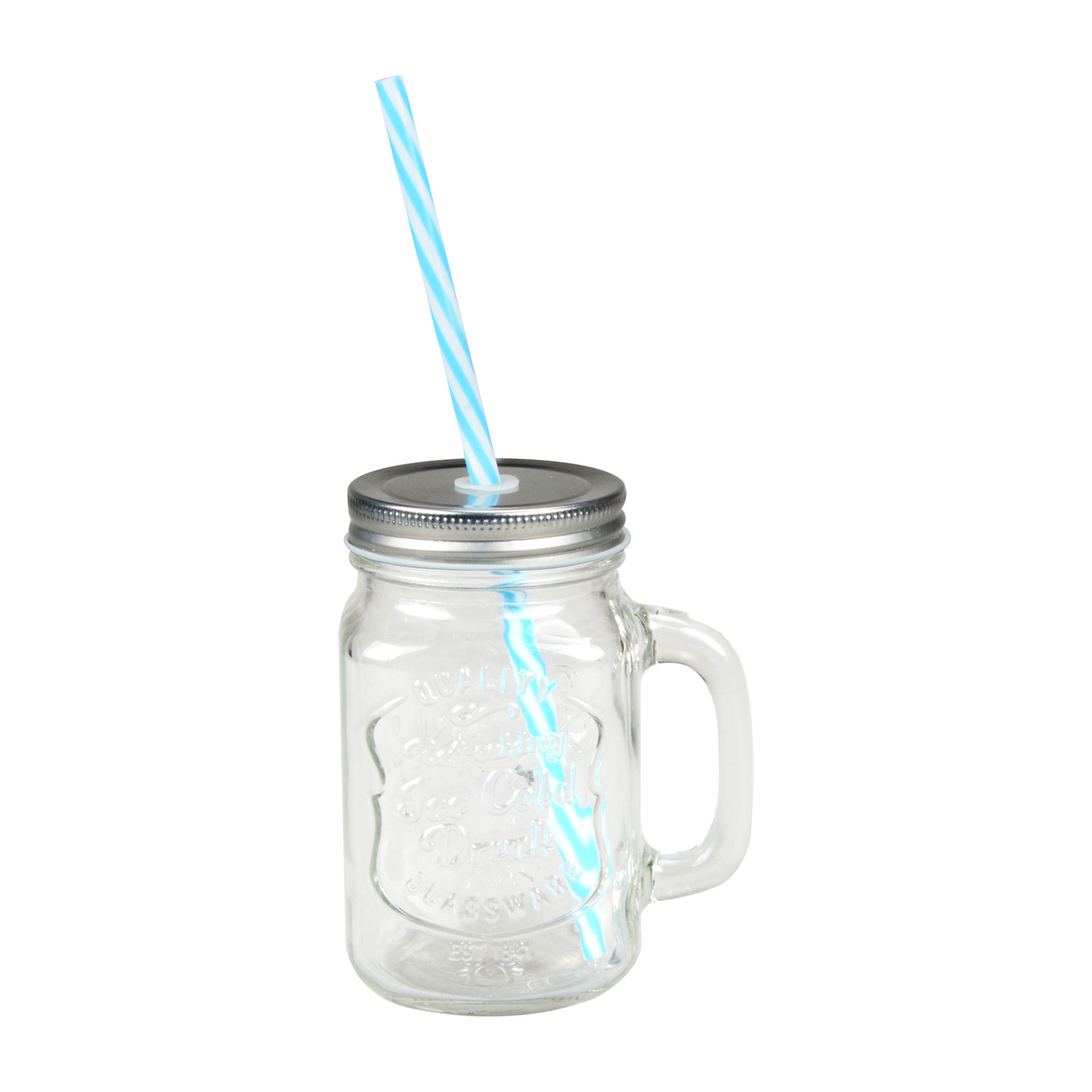 Wholesale 450ml Glass Jar Mason Jar with Metal Lid and Straw