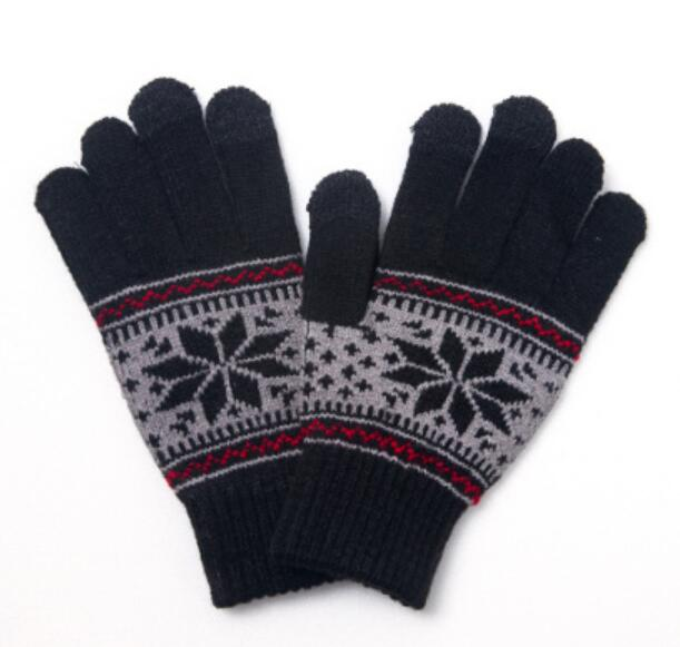 Cheap winter knit gloves jacquard snowflake pattern gloves touch screen thicken warm gloves accept custom