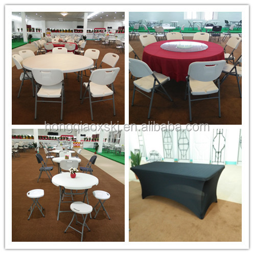 6FT wood grain blow molding table, stackable outdoor plastic folding table, table with metal legs folding table legs