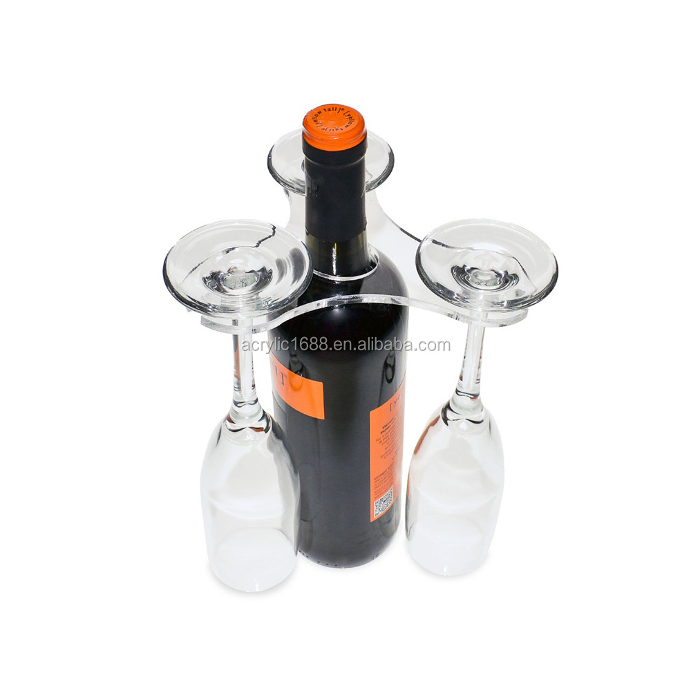 High quality 3 clear acrylic wine glasses display holder
