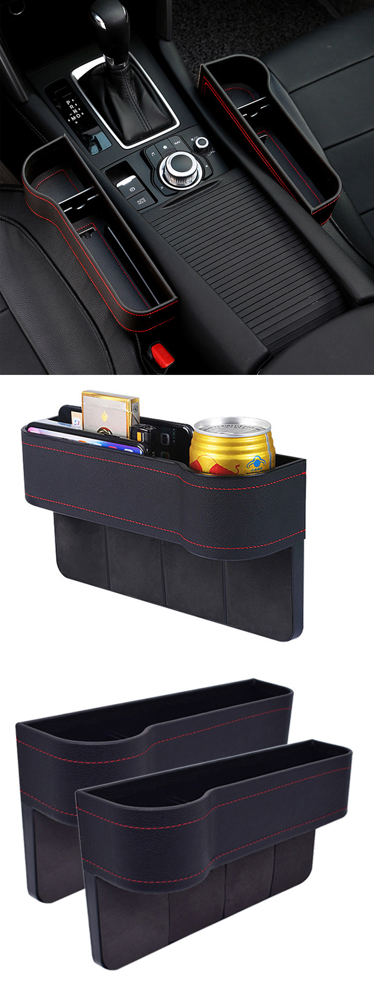 2020 Premium PU Leather Car Console Side Seat Gap Filler Pocket with Cup Holder Design