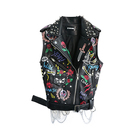 Leather Motorcycle Vest printed PU jackets with chain Punk Sleeveless Jacket